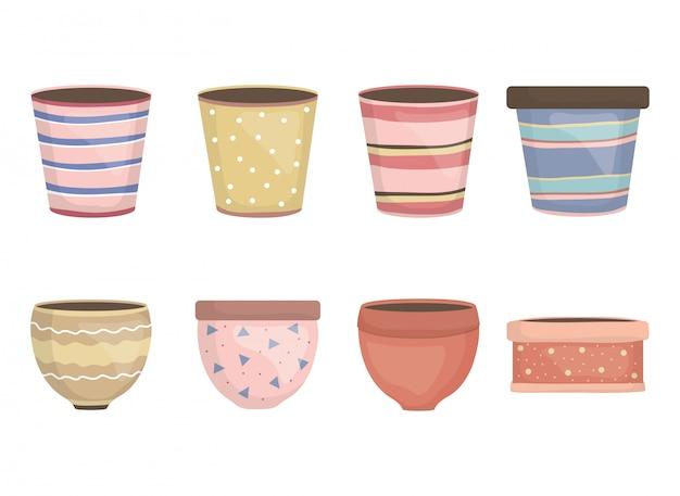 Vasos de jardim de cerâmica decorativos ícones