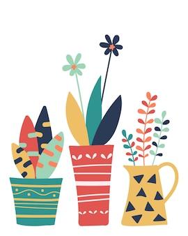 Vasos de mão desenhada com flores coloridas