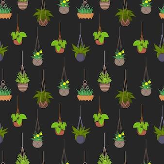 Vasos pendurados com padrão sem emenda de plantas