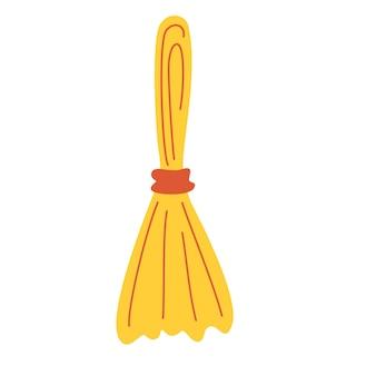 Vassoura. ferramenta de limpeza. vassoura comum simples. implementos domésticos de poeira e sujeira.
