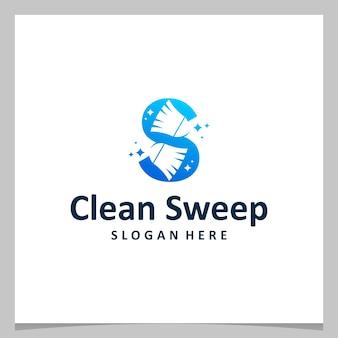 Vassoura limpa de design de logotipo de inspiração com letra inicial s. vetor premium