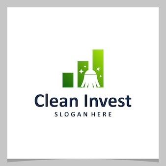 Vassoura limpa de design de logotipo de inspiração com logotipo de investimento financeiro. vetor premium