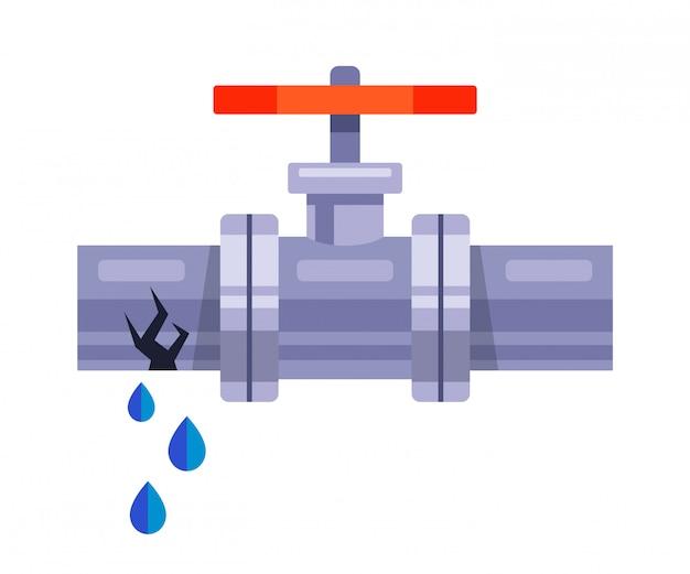 Vazamento de água de um tubo de ferro em um fundo branco. ilustração plana