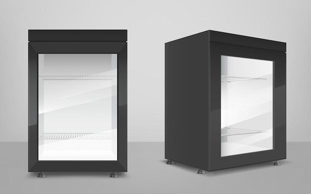 Vazia mini geladeira preta com porta de vidro transparente