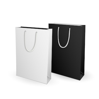 Vazio branco e preto mock up modelo sacola para publicidade e branding