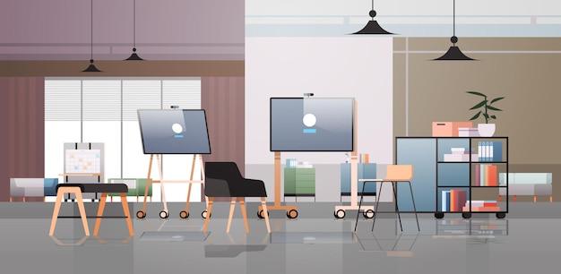 Vazio coworking center moderno escritório quarto espaço aberto interior com móveis ilustração horizontal