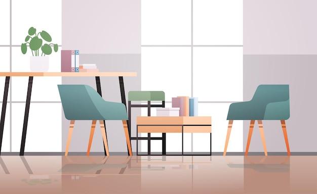 Vazio coworking center moderno escritório quarto interior criativo espaço aberto com móveis ilustração horizontal