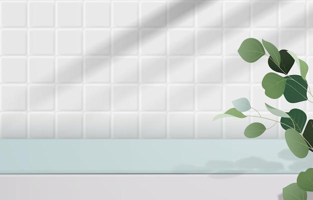 Vazio de tampo de mesa branco e verde no padrão branco sem costura de fundo de telhas com folhas verdes e sombra. para exibição de produto de montagem ou design de banner simulado. vetor 3d