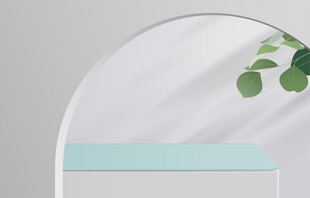 Vazio de tampo de mesa branco e verde sobre fundo branco com folhas verdes. para exibição de produto de montagem ou design de banner simulado. vetor 3d