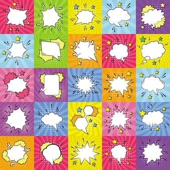 Vazio discurso bolhas planas ícones