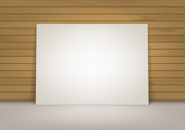 Vazio em branco branco mock up pôster moldura de pé no chão com vista frontal da parede de madeira sienna marrom