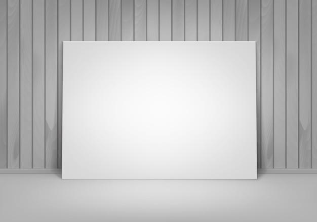 Vazio em branco branco mock-up pôster moldura de pé no chão com vista frontal da parede de madeira