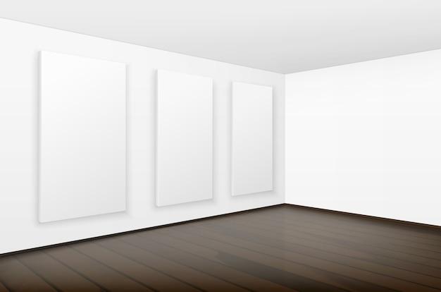Vazio em branco branco mock up pôsteres fotos molduras nas paredes com piso de madeira marrom na galeria