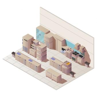 Vazio interior isométrico da ilustração de cozinha de restaurante