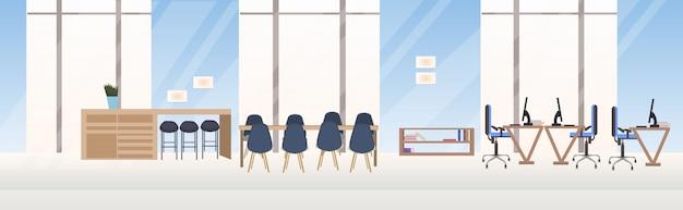 Vazio, não, pessoas, criativo, co-trabalhando, espaço trabalho, conferência, treinamento, sala, com, mesa-redonda, espaço trabalho, moderno, escritório, interior, bandeira horizontal