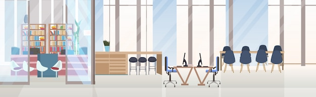 Vazio, não, pessoas, criativo, co-working, centro, conferência, sala treinamento, com, mesa redonda, espaço trabalho, criativo, escritório, interior, bandeira horizontal