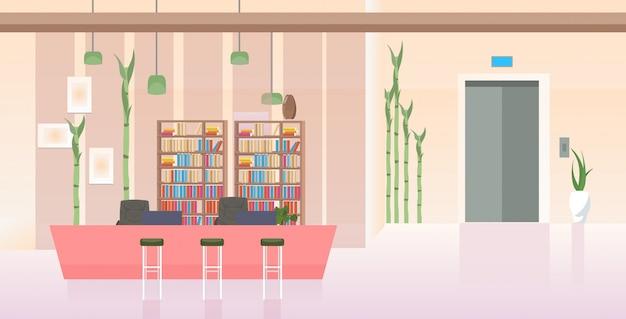 Vazio, não, pessoas, modernos, escritório, corredor, com, balcão escrivaninha, contemporâneo, lobby, interior, horizontal