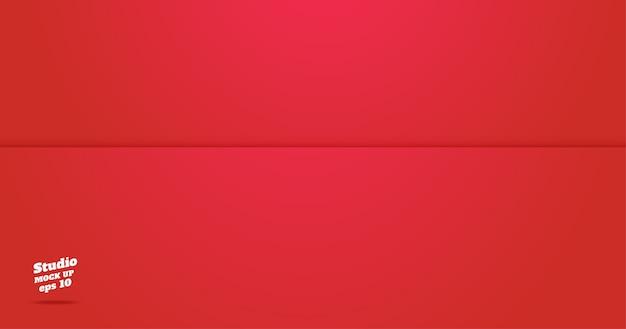 Vazio plano de sala de estúdio vermelho vívido Vetor Premium