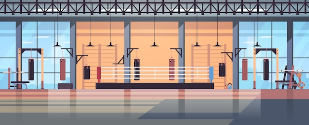 Vazio, sem pessoas, ringue de boxe interior moderno do clube da luta