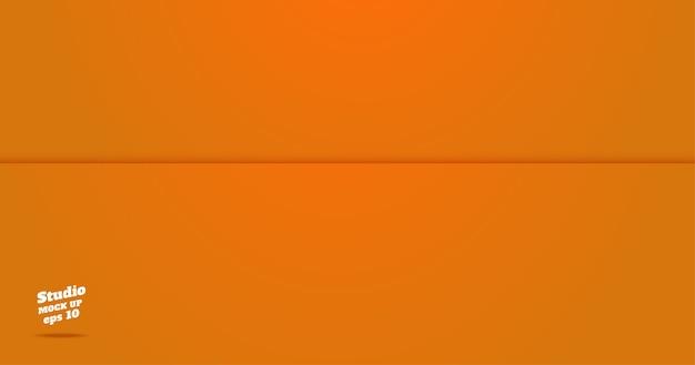 Vazio, vívido, laranja, estúdio, sala, fundo Vetor Premium
