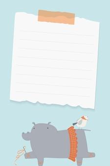 Vctor de papel de hipopótamo bailarina