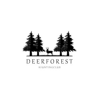Veado, abeto, pinho, árvore, logotipo, design, vetorial