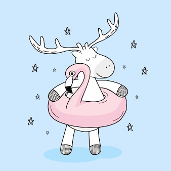 Veado bonito com desenho de doodle de bóia de flutuador flamingo