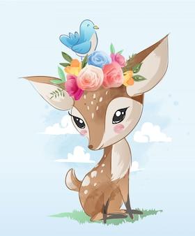 Veado bonito dos desenhos animados com ilustração de coroa floral