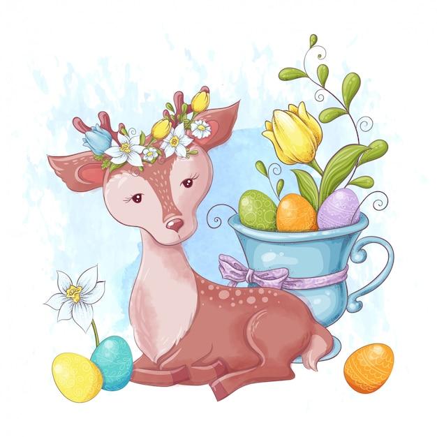 Veado bonito dos desenhos animados com um buquê de ovos de páscoa multi-coloridas e flores da primavera