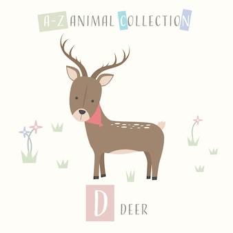 Veado bonito dos desenhos animados doodle alfabeto animal d