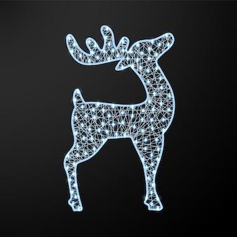 Veado brilhante de natal. figura de ano novo com festão. ilustração vetorial realista
