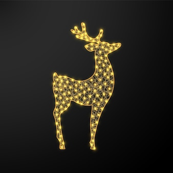 Veado brilhante de natal. figura de ano novo com festão.