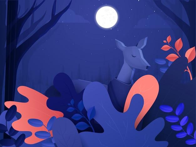 Veado de animais dos desenhos animados em pé na bela floresta