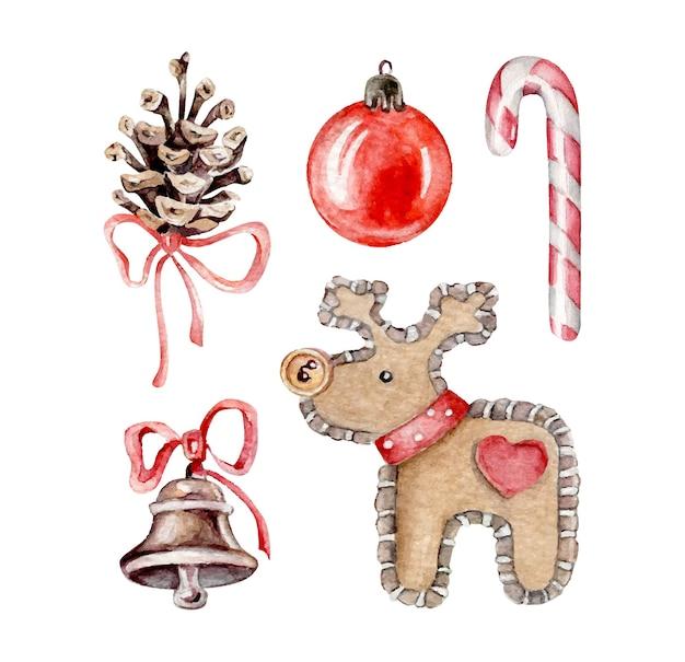 Veado de brinquedo de natal, esfera de natal, cone, sino, doces. conjunto de natal