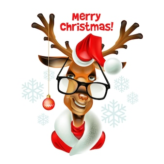 Veado de hipster de papai noel de natal. ilustração vetorial eps 10