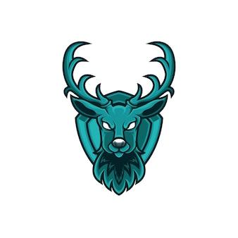 Veado de logotipo mascote com escudo