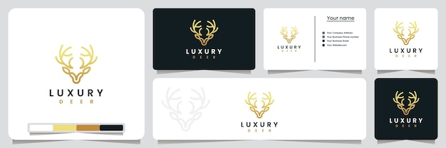 Veado de luxo, com estilo de linha de arte e cor dourada, inspiração para o design do logotipo