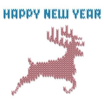 Veado de malha e inscrição feliz ano novo