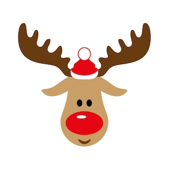 Veado de natal ou ano novo com chapéu de papai noel