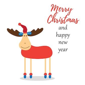 Veado deseja feliz natal e feliz ano novo