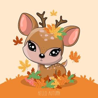Veado desenhado à mão com outono
