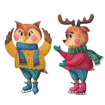 Veado e coruja em um suéter e patins. personagens de ano novo em estilo infantil