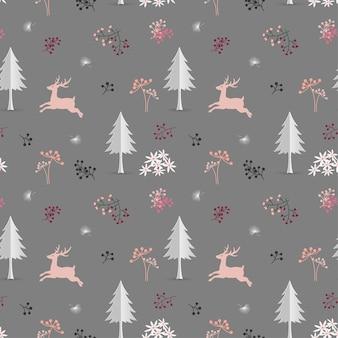 Veado, em, a, floresta, natal, seamless, padrão, ligado, pastel, humor