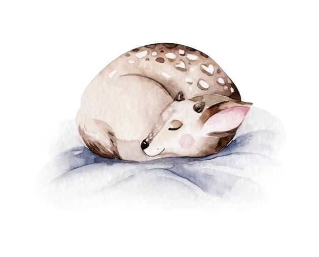 Veado em aquarela de natal. ilustração de animais fofos da floresta de natal fawn