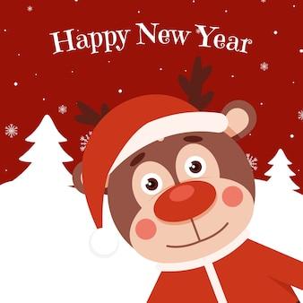 Veado engraçado no natal feliz ano novo