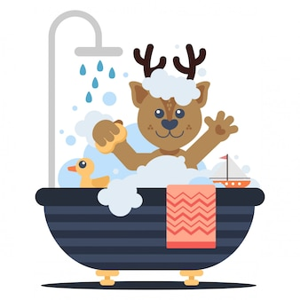 Veado engraçado tomando banho com um pato e brinquedos de barco