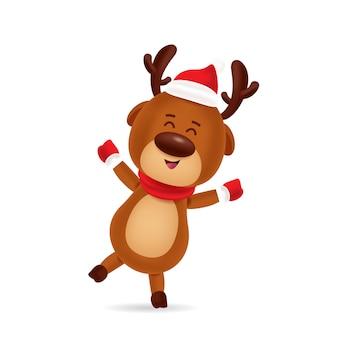 Veado feliz dançando com gorro vermelho e lenço vermelho