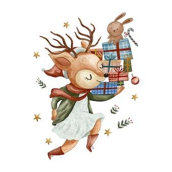 Veado fofo feliz entregando presentes doce ilustração em aquarela de natal