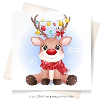 Veado fofo para o natal com cartão em aquarela