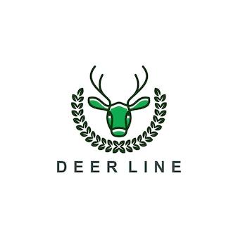 Veado logotipo linha arte ícone símbolo ilustração vetorial